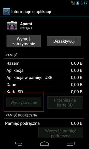 Czyszczenie danych aplikacji